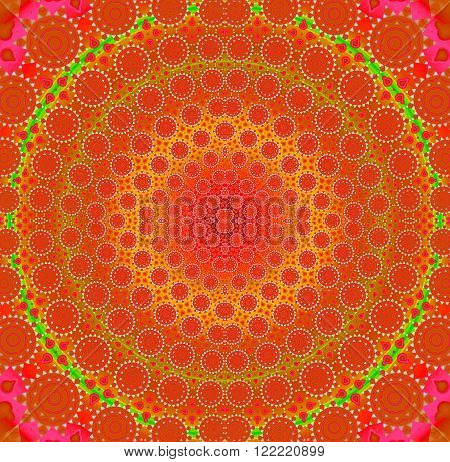 Abstract geometric seamless background. Ornate concentric circle ornament in red, orange, yellow shades with green elements, conspicuous and dominant.
