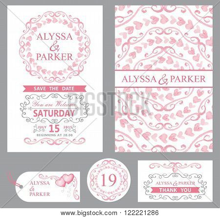 Wedding invitation card set.Watercolor Pink hearts, swirls, ribbons with grey swirling borders, frames decor elements, text.Tag, RSVP card, Thank you, save the date.Cute artistic vector.Mandala ornament