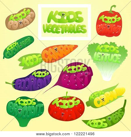 Kids Vegetables set. Kids Vegetables labels. Paprika Cucumber Peas Corn Beet Lettuce Broccoli Tomato Potato Carrot Eggplant. Cute Kids Vegetables.