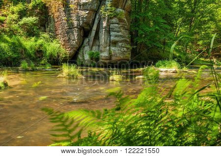 Wild River Kamenice flowing between rocks in the Czech Switzerland