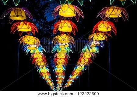 London United Kingdom - February 07 2016: Magical Lantern Festival at Chiswick House And Gardens. Lotus flowers installation mafe of glowing lanterns.
