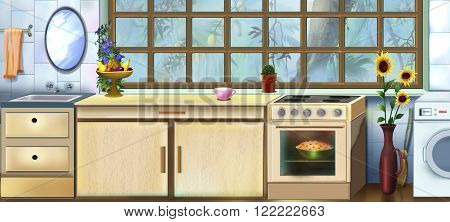 Digital painting of the Vintage Kitchen. Artistic background