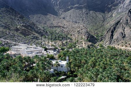 Mountain village of Misfat Al Abriyeen, perched on the steep walls of a deep canyon, Sultanate of Oman