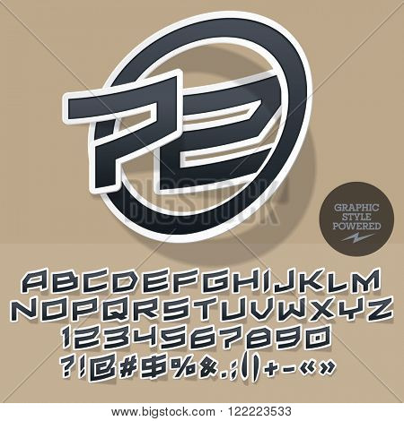 Sticker style logotype for for motor shop or club. Vector set of letters and numbers