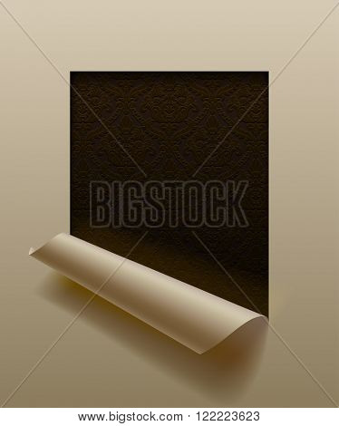 Paper sheet cut framed  and partially rolled up with ornamental background in dark vintage colors.
