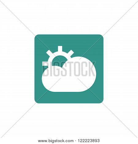 Cloud Configure Icon, On Green Rectangle Background, White Outline