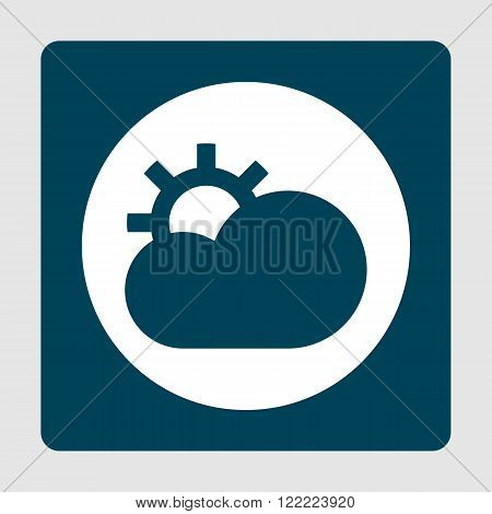 Cloud Configure Icon, On White Circle Background Surrounded By Blue