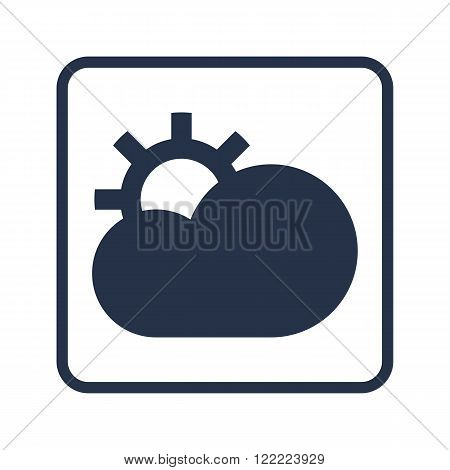 Cloud Configure Icon, On White Background, Rounded Rectangle Border, Blue Outline