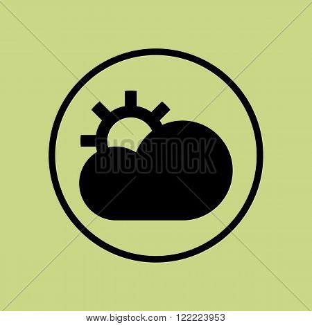 Cloud Configure Icon, On Green Background, Circle Border, Dark Outline