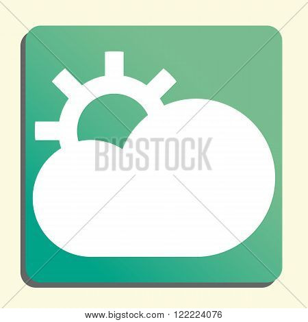 Cloud Configure Icon, On Button Style Green Background, Yellow Light, Shadow