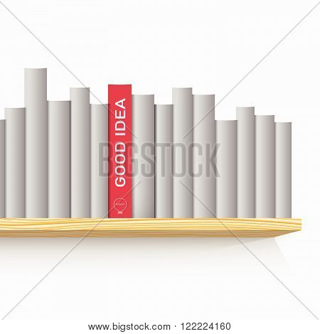Books on the wooden shelf and one red book with title Good idea