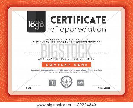 Modern red certificate background frame design template