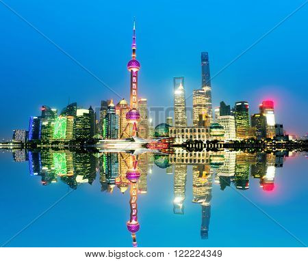 Shanghai China city skyline on the Huangpu River.
