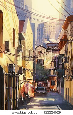painting of narrow street with buildings city on a sunny day