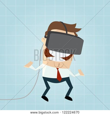 funny cartoon man with vr glasses in cyberspace