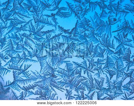 ice crystals formed by low temperature on a glass surface