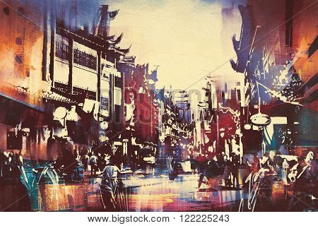 digital painting of Chinese buildings with people walking in city street