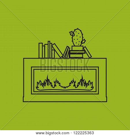 Vector illustration of fire in fireplace,  outline flat style.
