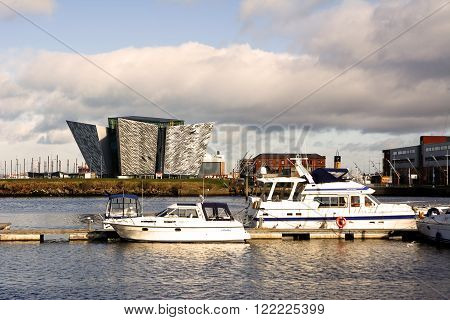 Belfast United Kingdom - february 22 2016: Titani Museum Palace oh the harbour in a sunny day