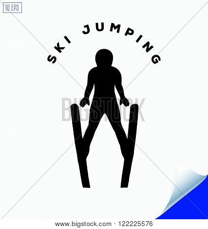 Jumping skier silhouette on white background. Winter Sport.