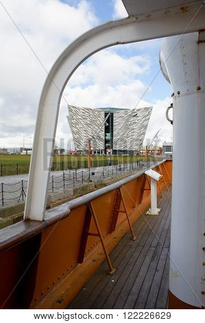 Belfast, United Kindom -  febrary 22, 2016: Titanic Museum Palace vieved from Nomadic deck