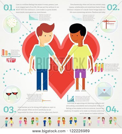 Love marriage couple of two men infographic set. Same-sex marriage. Flat style.
