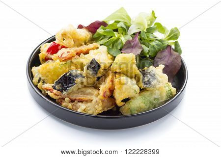 Tempura Prawn And Fried Vegetable. Vegetarian Salad.