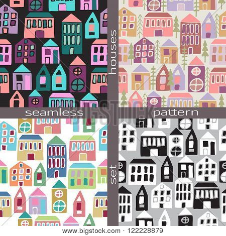 Set Of Seamless Pattern Houses