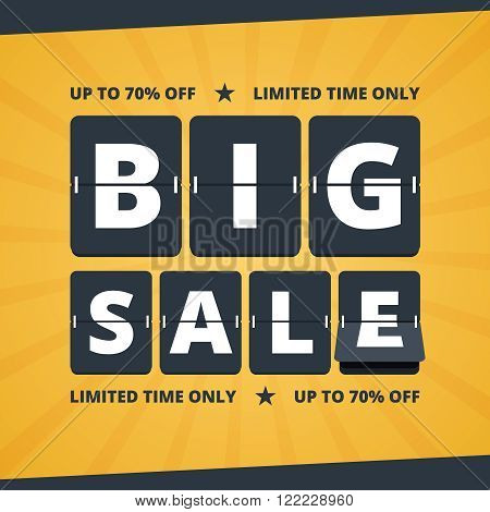 Big sale banner. Big sale illustration. Big sale advertising with flip scoreboard alphabet. Mechanical countdown letters. Black and yellow colors in flat style. Vector illustration for print or web design.