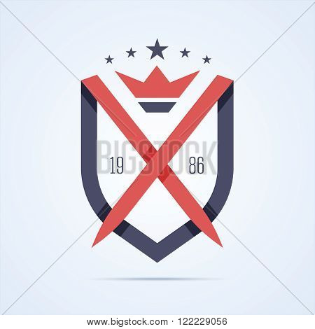 Guard sign. Shield logo. Protection logo. Royal protection logo with two sword and crown. Line style with overlapping effect. Vector illustration in flat style for print or web.