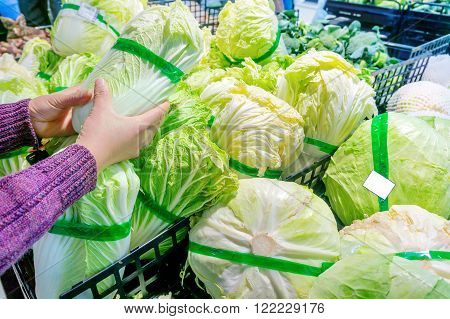 Women in the supermarket selection of fresh cabbage and cabbage