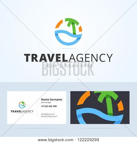 Logo and business card template for travel agency. Origami, overlapping style logo with abstract water, sea, palm tree and sun. Vector illustration for print or web.