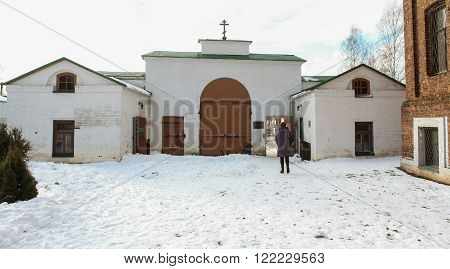 Staraya Ladoga, Russia - 23 February, Holy Gates from the western gatehouse and a chapel, 23 February 2016.