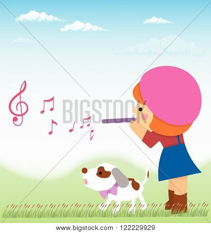 Cartoon little girl is playing on the flute from it flying notes, near little dog, Jack Russell. Material design.