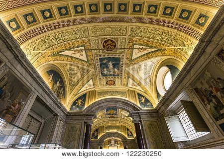 VATICAN CITY, VATICAN, JUNE 12, 2015 : ceilings and architectural details of the Vatican library, in Vatican museum june 12, 2015, in Vatican city, Vatican