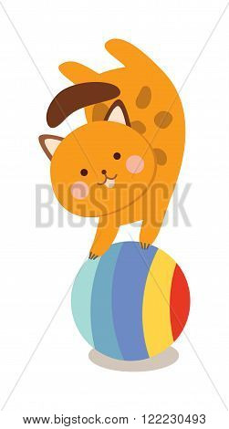 Circus cats . Set of cheerful circus cats. illustration for childrens with circus cats. Isolated cartoon cats animals in circus. Cute Circus playing cats.