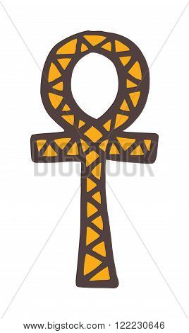 Egypt symbols . Ankh Hieroglyph, also known as key of life, key of Nile, crux ansata. Egypt symbols the concept of eternal life. illustration Egypt symbols on white background.