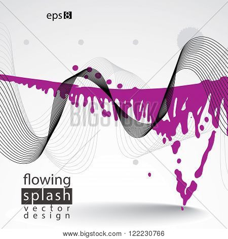 Artistic abstract airy colorful ink template scanned and traced splashing decorative element. Rough grungy bright background.