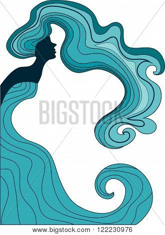 abstract silhouette of a woman with long wavy hair and a long dress like a wave