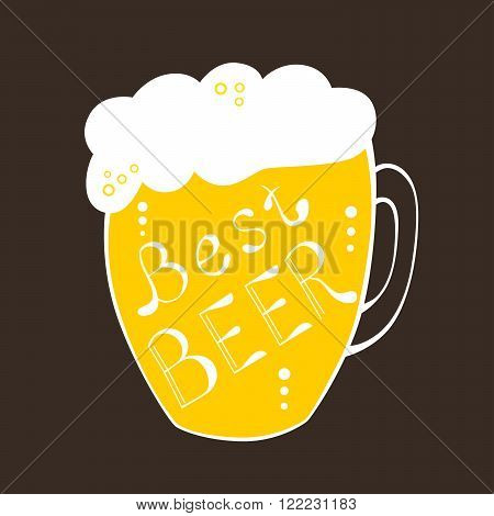 Pint mug best beer text yellow illustration vector