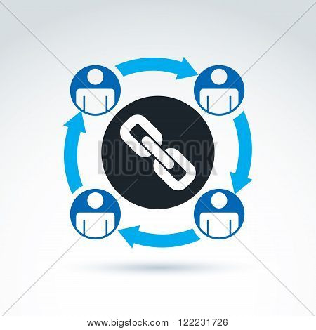Chain link vector conceptual icon with team of workers or social connected people