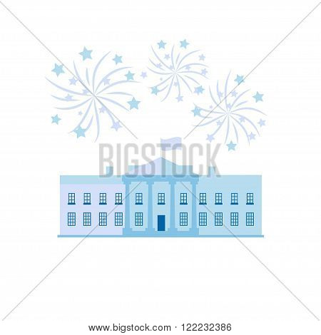 White house united states president residence and Independance day firworks