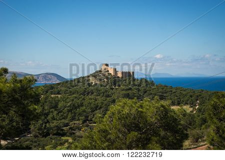 Kritinia Castle At The Top Of The Hill