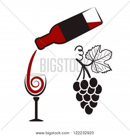 Wine set. Bottle of wine, wineglass and bunch of grapes. Stylish symbols for wine list or menu.