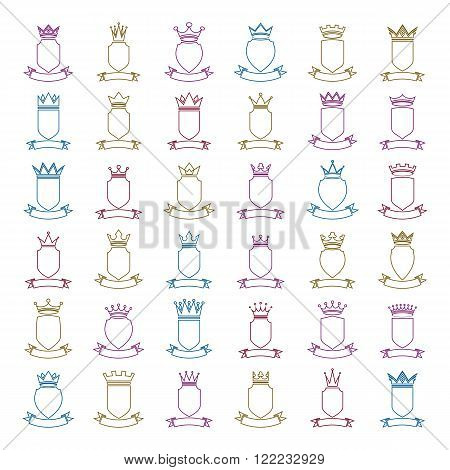 Heraldic Blazons Placed In A Colorful Circles, Security Shields Collection With Imperial Crowns And