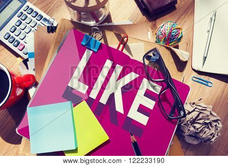 Like Social Media Marketing Messy Table Concept