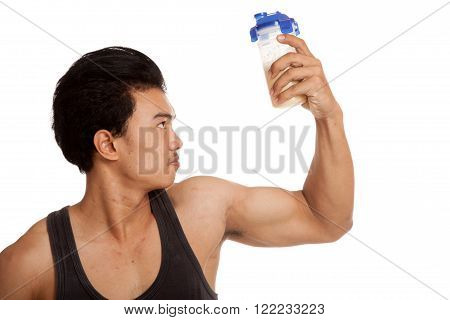 Muscular Asian Man  Flexing Biceps With Whey Protein Shakes