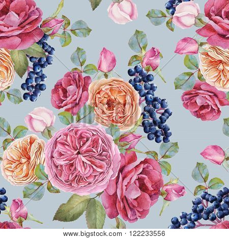 Floral seamless pattern with watercolor roses and black rowan berries. Background with bouquets of watercolor flowers