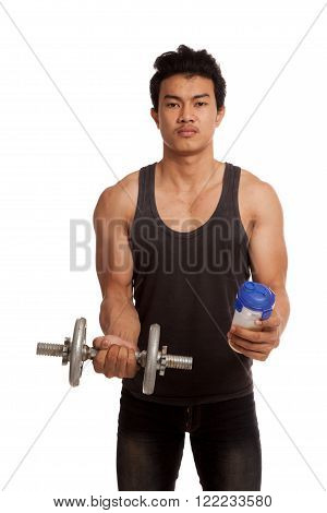 Muscular Asian Man With Dumbbell And Whey Protein Shakes