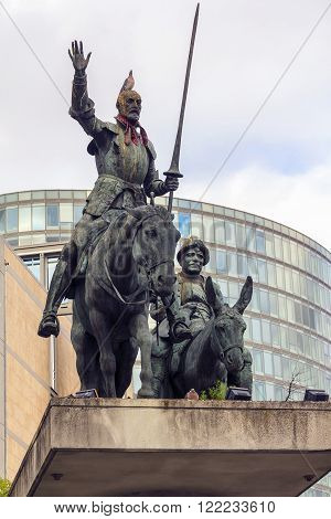 Brussels, Belgium - May 10: This is a monument to Don Quixote and Sancho Panza May 10, 2013 in Brussels, Belgium.